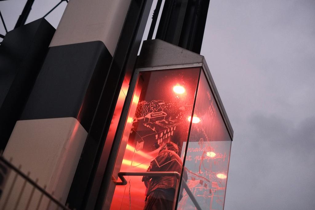 «De Bovenkamer van Groningen», Elevator intervention by Hugo Herrera (drawings, lighting) and Koen Kaptijn (sound)